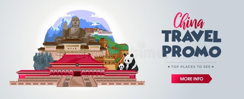 Концепция туристического баннера Китая Промо для агентств, листовок, постер Найдите иллюстрацию Китая Векторный флаг иллюстрация вектора