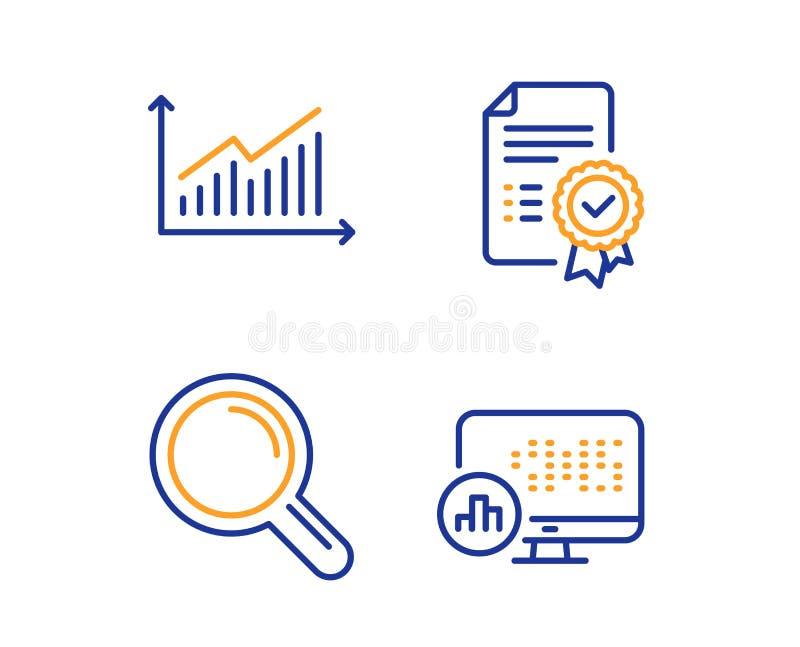 Набор значков графика, сертификата и исследования Знак статистики отчета Вектор бесплатная иллюстрация