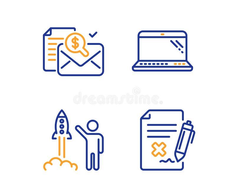Отчет по учету, запуск проекта и набор значков портативного компьютера иллюстрация штока
