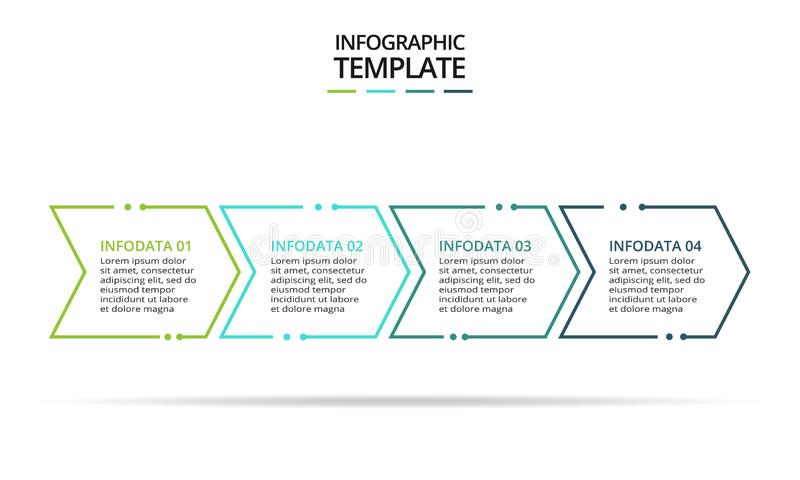 信息图形的细线元素 图表、图表、演示文稿和图表的模板 概念,4个选项 库存例证