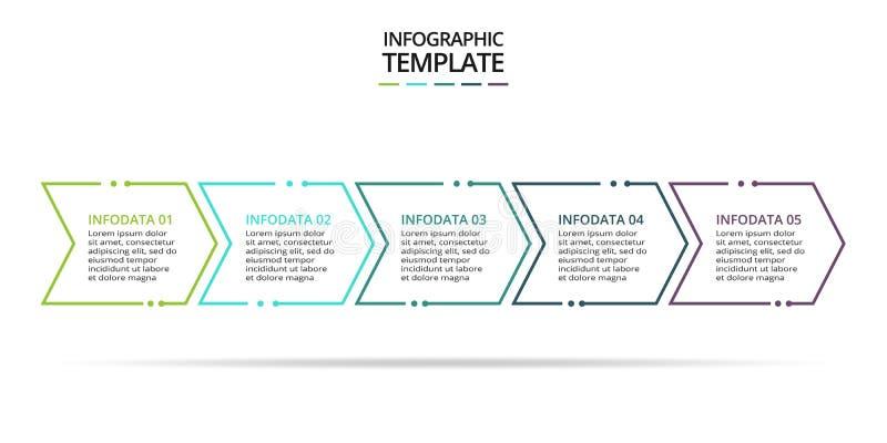 信息图形的细线元素 图、图、演示的模板 概念,包括5个选项、部件、步骤 皇族释放例证
