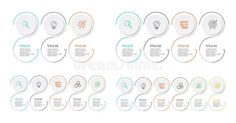 信息图形的细线元素 图表、图表、演示文稿和图表的模板 具有3、4、5、6选项的概念 库存图片