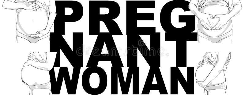 被怀孕的女人抚摸着她的肚子 年轻女人怀孕 可爱的肚子 皇族释放例证