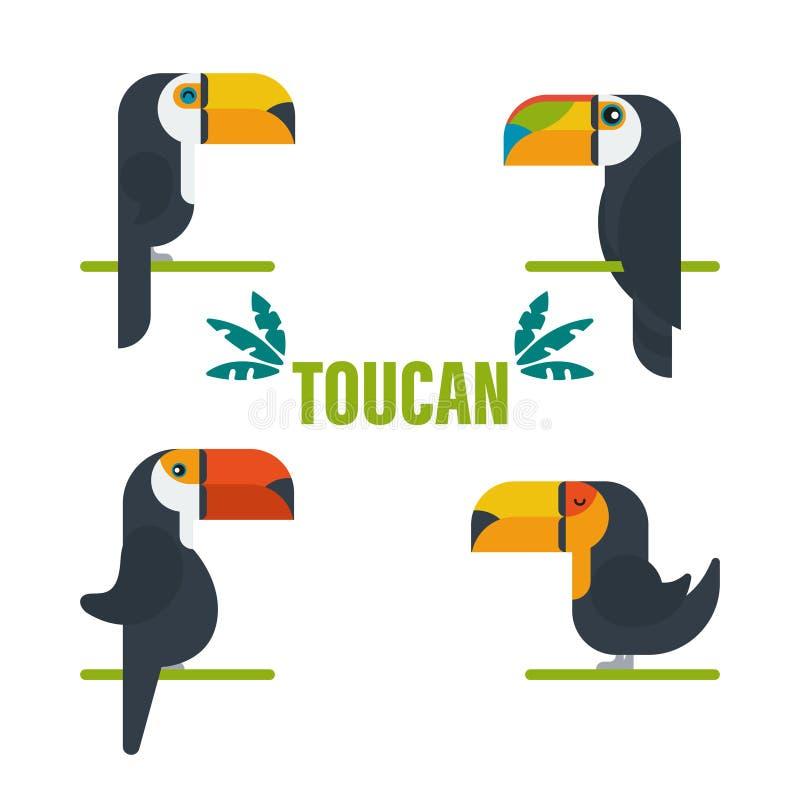 Toucan鸟卡通人物 在白色隔绝的逗人喜爱的toucan平的传染媒介 南美洲的动物区系 r 库存例证