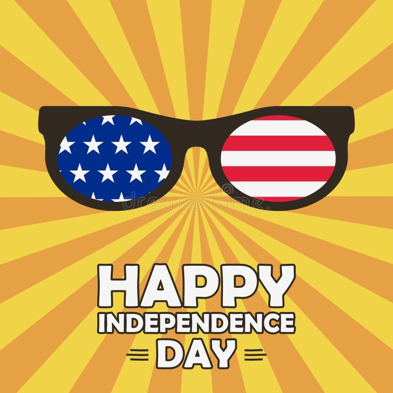 带星条眼镜的独立日贺卡 美利坚合众国庆祝 — 7月4日 矢量 库存例证