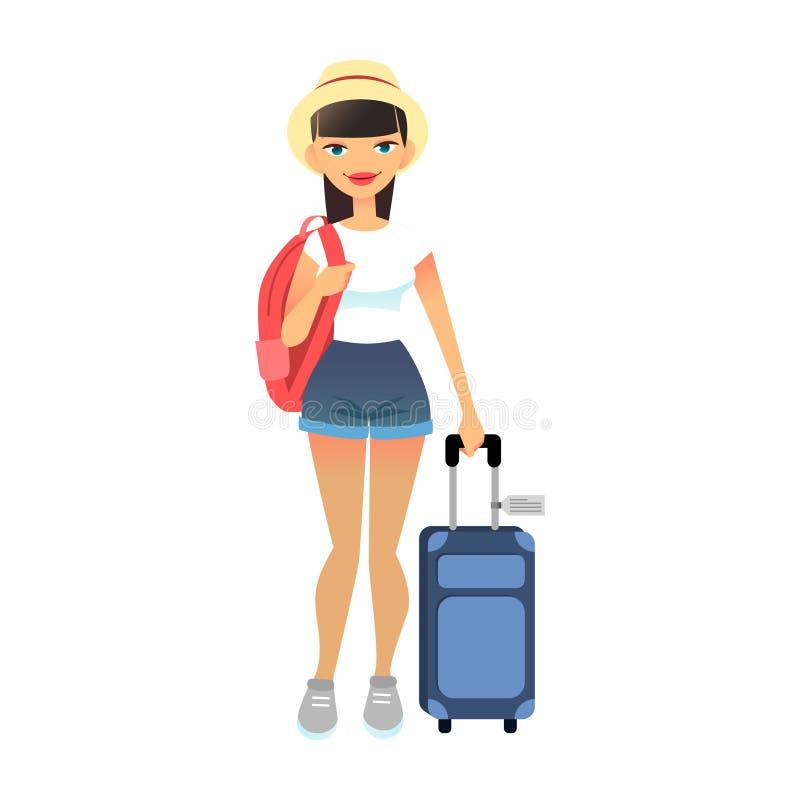 带行李的旅游女游客 在机场穿着带行李的休闲服装的年轻平淡女子 矢量 向量例证