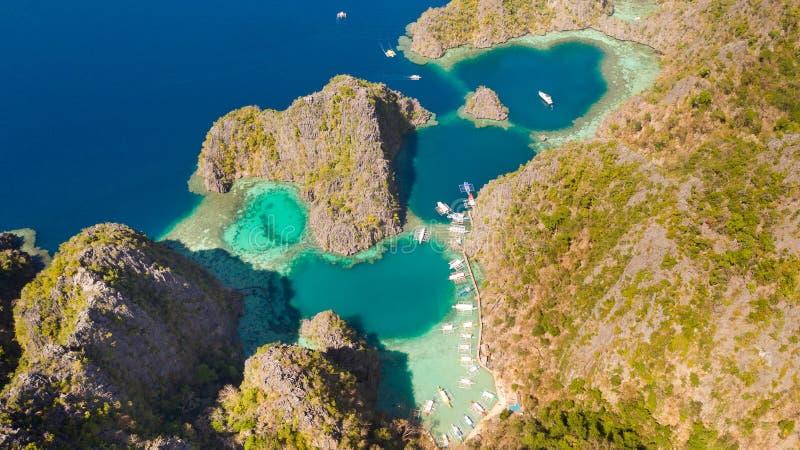 空中景观热带泻湖,海滩 热带岛 布桑加,巴拉望,菲律宾 图库摄影