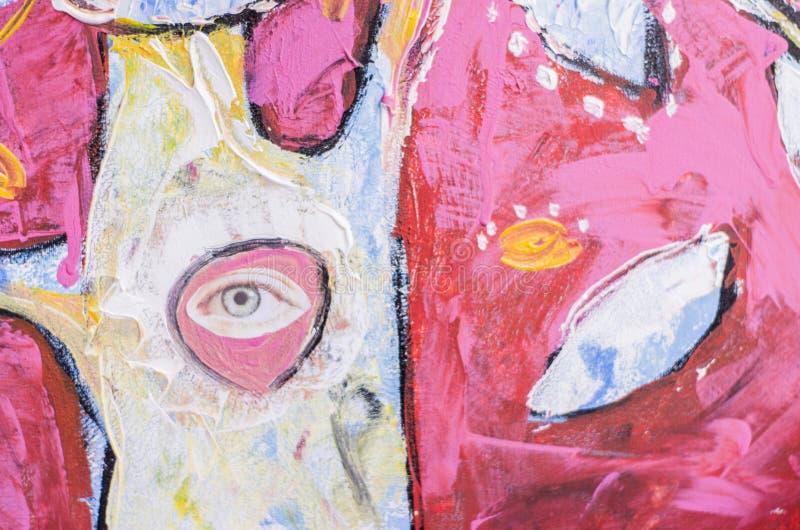 手绘丙烯酸画 抽象艺术背景 画布上的丙烯酸画 库存例证