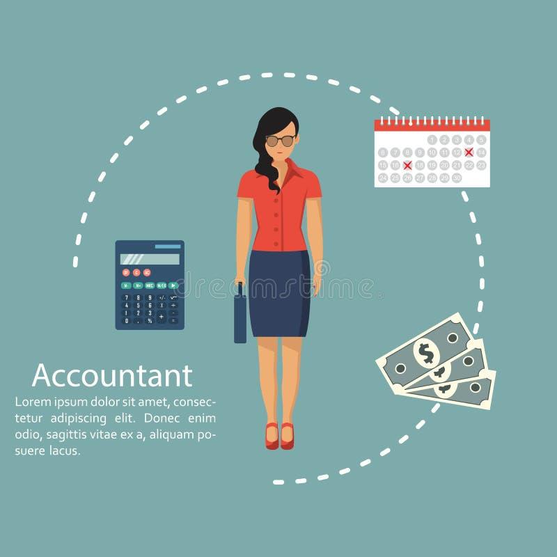 女商人会计 计算和会计概念 平面设计中的矢量图 从事报告工作的妇女,f 库存例证