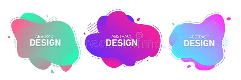 一组现代抽象矢量横幅 流体有机彩色形状 抽象背景 孟菲斯设计风格 皇族释放例证