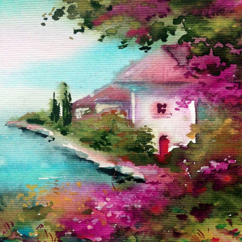 手工制造水彩五颜六色的明亮的织地不很细摘要的背景 地中海风景 建筑学沿海绘画  皇族释放例证