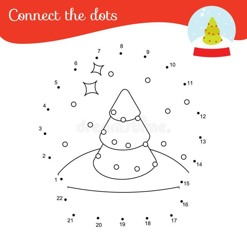 连接点 儿童和幼儿的点到点数字活动 儿童教育游戏 新年雪球 向量例证