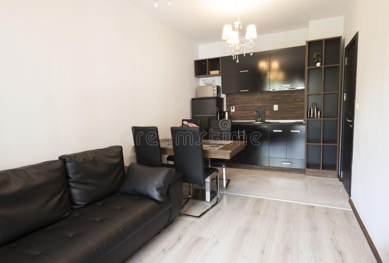 带厨房的开放式客厅 新家 带棕色和黑色家具的房间 室内摄影 木地板 免版税图库摄影
