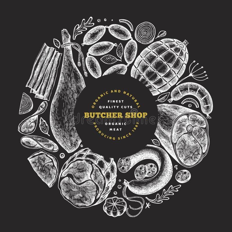复古矢量肉制品设计模板 手绘火腿、香肠、香料和香草 原料食品 扣 皇族释放例证