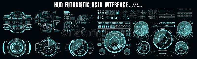 HUD元素巨集包 仪表板显示虚拟现实技术屏幕 未来型用户界面 皇族释放例证