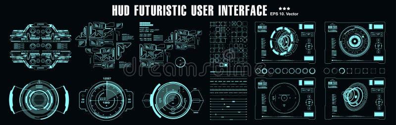 HUD元素巨集包 仪表板显示虚拟现实技术屏幕 未来型用户界面 库存例证