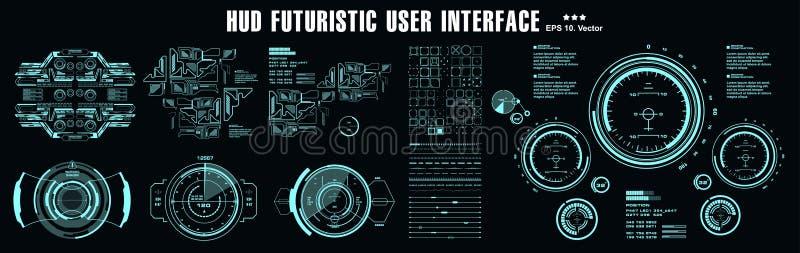 HUD元素巨集包 仪表板显示虚拟现实技术屏幕 未来型用户界面 向量例证