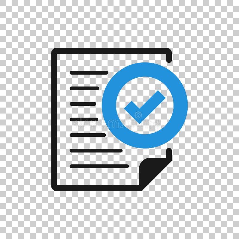 透明样式的合规性文档图标 在孤立背景上批准的处理矢量图 复选标记业务 库存例证