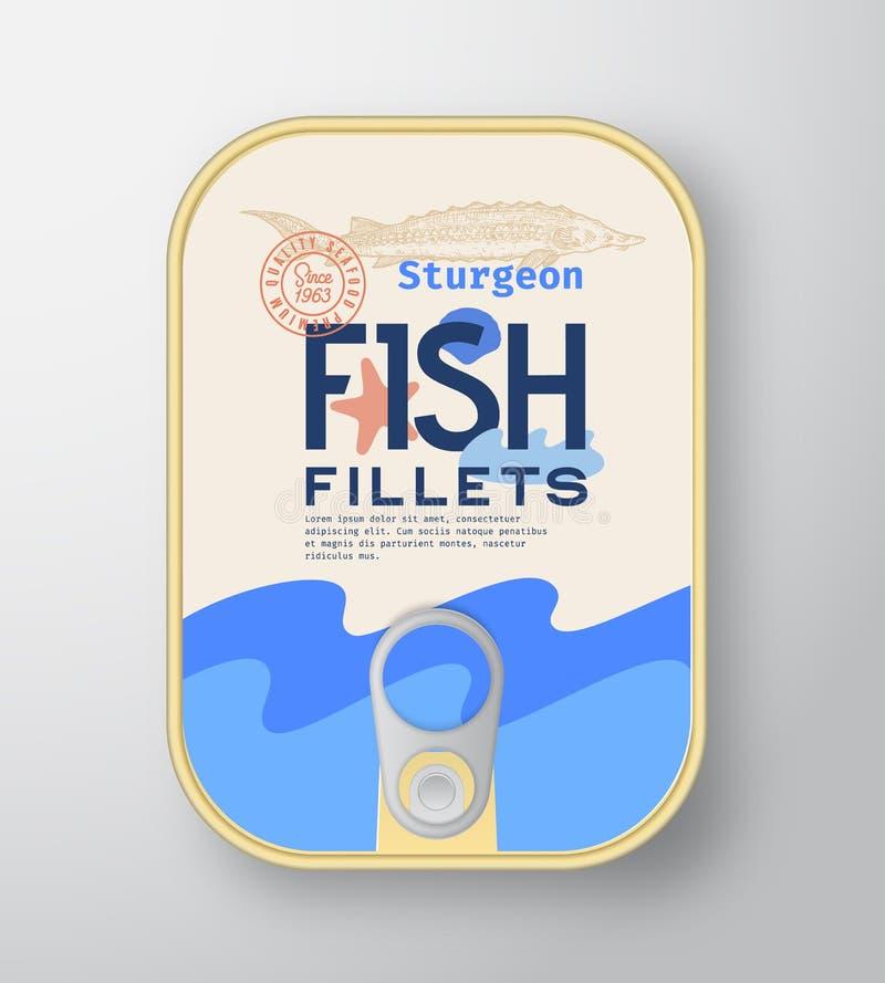 带标签盖的鱼丝铝容器 抽象矢量高级罐头包装设计 现代版式 向量例证