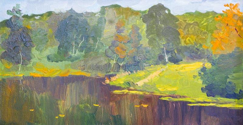 油画五彩秋树 黄红叶杨树和湖泊的半抽象图像 秋天,秋季 库存例证