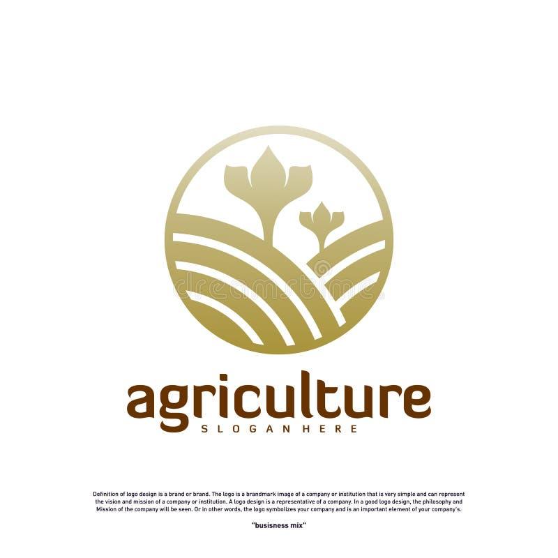 农业标志概念 自然农场标志设计模板向量 图标符号 皇族释放例证