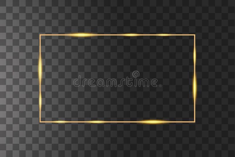 具有光效果的矢量金框 闪烁的矩形横幅 在黑色透明背景上隔离 矢量 库存例证