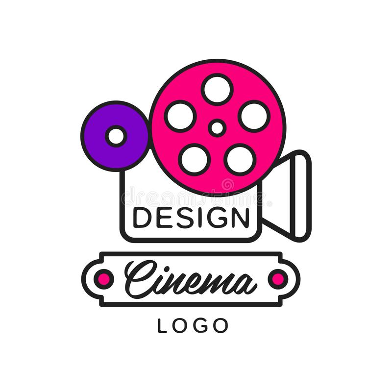 Design für kreatives, modernes Kino oder Movie-Logo Retro-Kamera und große Rollen Flachzeilensymbol vektor abbildung
