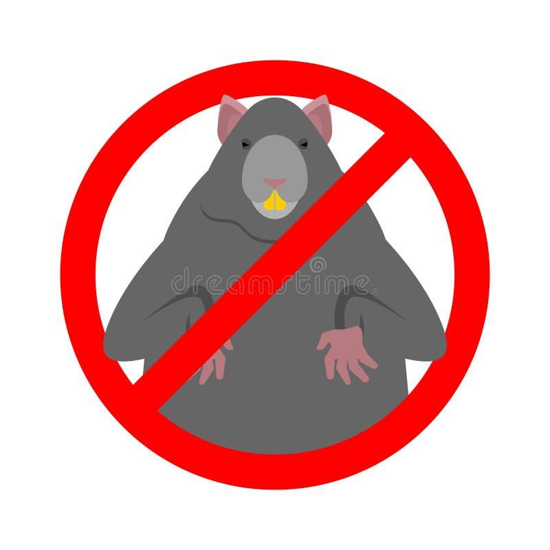 Stoppa frekvens Ban Big Mouse Illustration av vektor för gnagarskyddsskyltar royaltyfri illustrationer