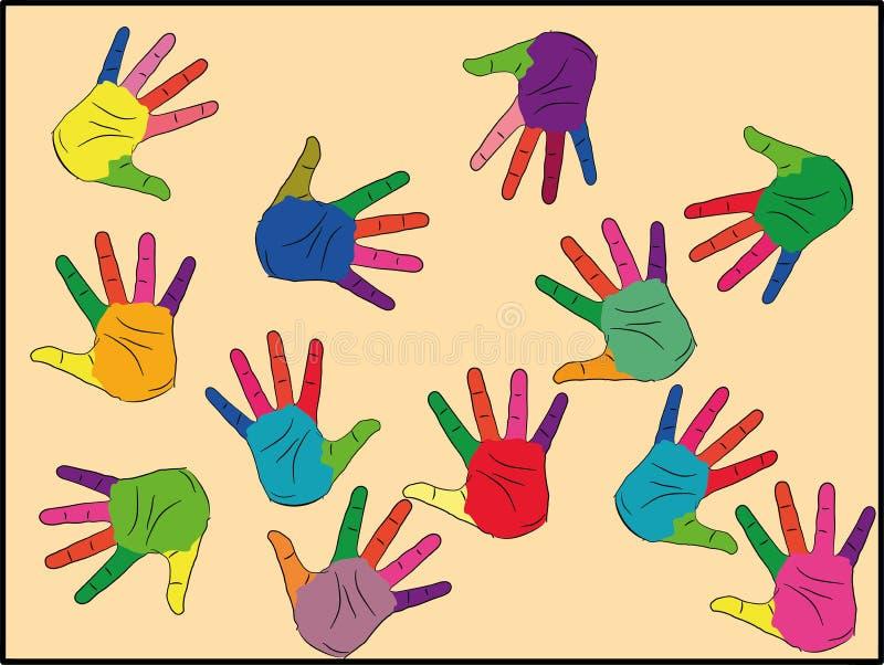 Malowane w różnych kolorach, gotowe do użycia logo, tekstu lub symboli Koncepcja różnorodności, spotkań i uspołeczniania symbole ilustracji