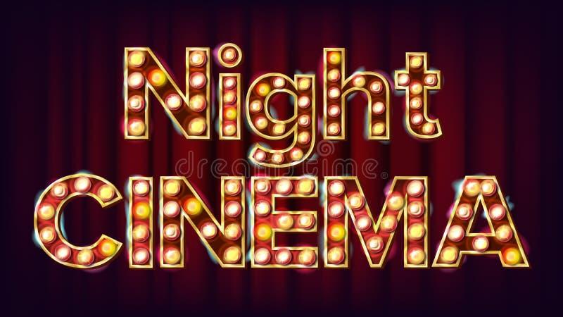 Bakgrundsvektor för nattfilm Theater Cinema Golden Illuminated Neon Light För teater, filmdesign vektor illustrationer