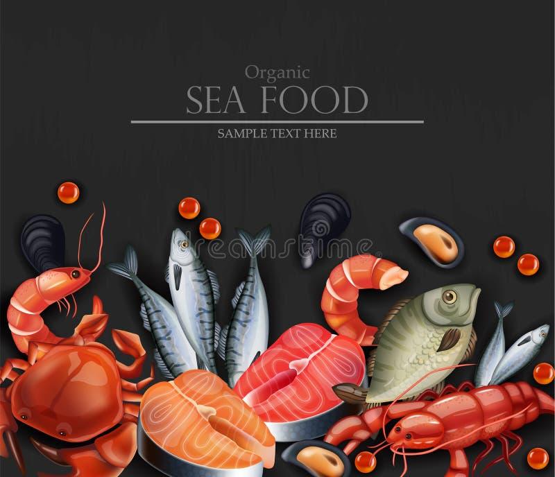 Seafood card Vector realistisk Organisk verkstad - uppåt Layout 3d-illustrationsmallar vektor illustrationer
