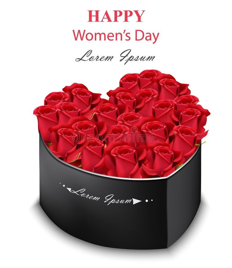 Roses rouges forme de coeur de boîte noire Vecteur. Fleurs détaillées réalistes. Bouquet romantique pour la Journée de la fem illustration de vecteur