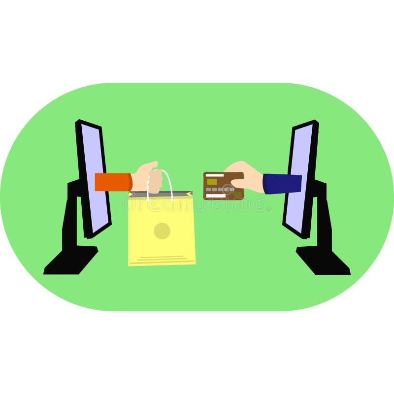 Zahlungsmethoden online Kreditkarte kaufen Abstrakte Abbildung, zwei Monitore auf grünem Hintergrund und weißem Hintergrund, vektor abbildung