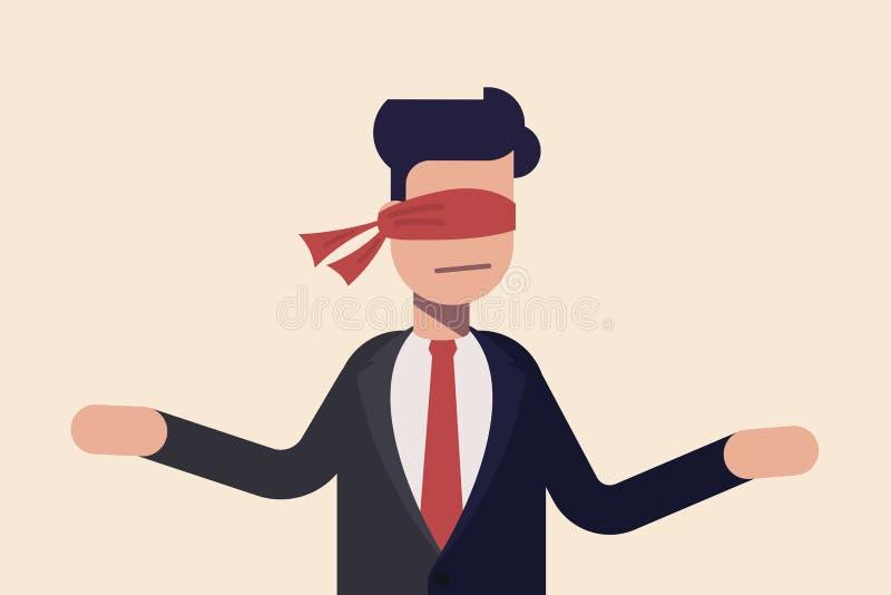 Oeil couvert. Aveugle recouvert de tissu rouge. Concept d'homme d'affaires ou de gestionnaire indécis aveugle devant un choix illustration libre de droits