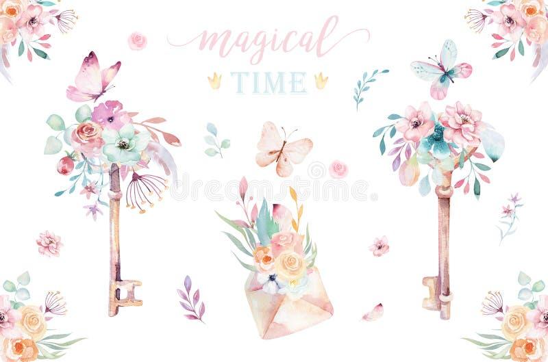 Wyizolowane ostre klucze jednorożca akwarelowe z kwiatami Ilustracja klucza siodła Plakat księżniczki tęczowej ilustracja wektor
