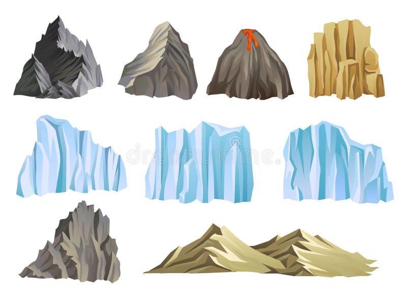 Vettore piatto con montagne, vulcano e iceberg Tema dell'avventura in salita o all'aperto Elementi per il paesaggio di royalty illustrazione gratis