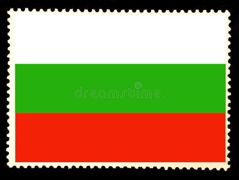 Bandiera nazionale dell'illustrazione della Bulgaria Colori ufficiali e proporzione della bandiera della Bulgaria Timbro di posta illustrazione di stock