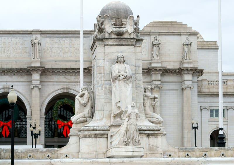 Estatua de Cristóbal Colón frente a la Estación de Unión. Fue diseñado por Lorado Taft e instalado en 1912. Washington, DC imágenes de archivo libres de regalías