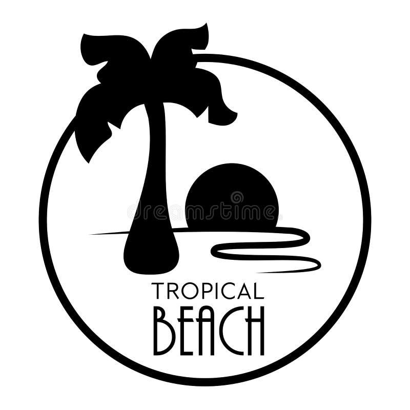 Vector de palmera negro sobre fondo blanco. Logotipo de la palmera retro aislado. Elegante palmera de coco con puesta de sol ilustración del vector