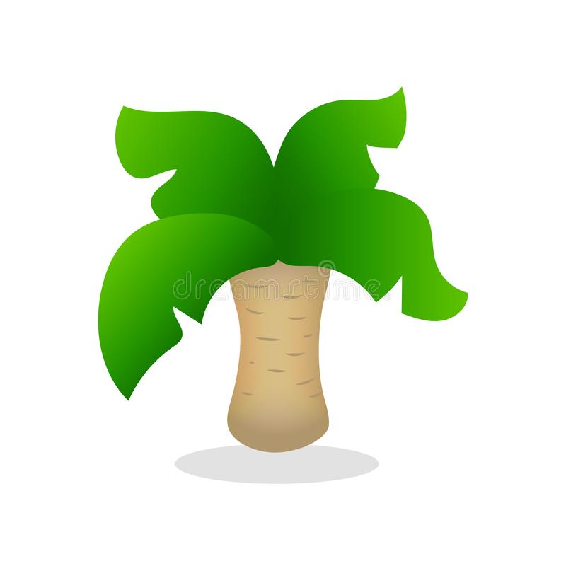 Het kleurrijke vectorlogo van de palmboom op witte achtergrond Cute palm Tree-pictogram geïsoleerd Funny coco palm tree with gree stock illustratie