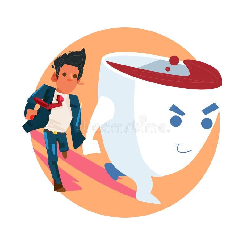 Kawiarnia prowadzi biznesmena ręką do pracy moc kofeiny koncepcja picia kawy i wykonywania pracy - ilustracja wektor