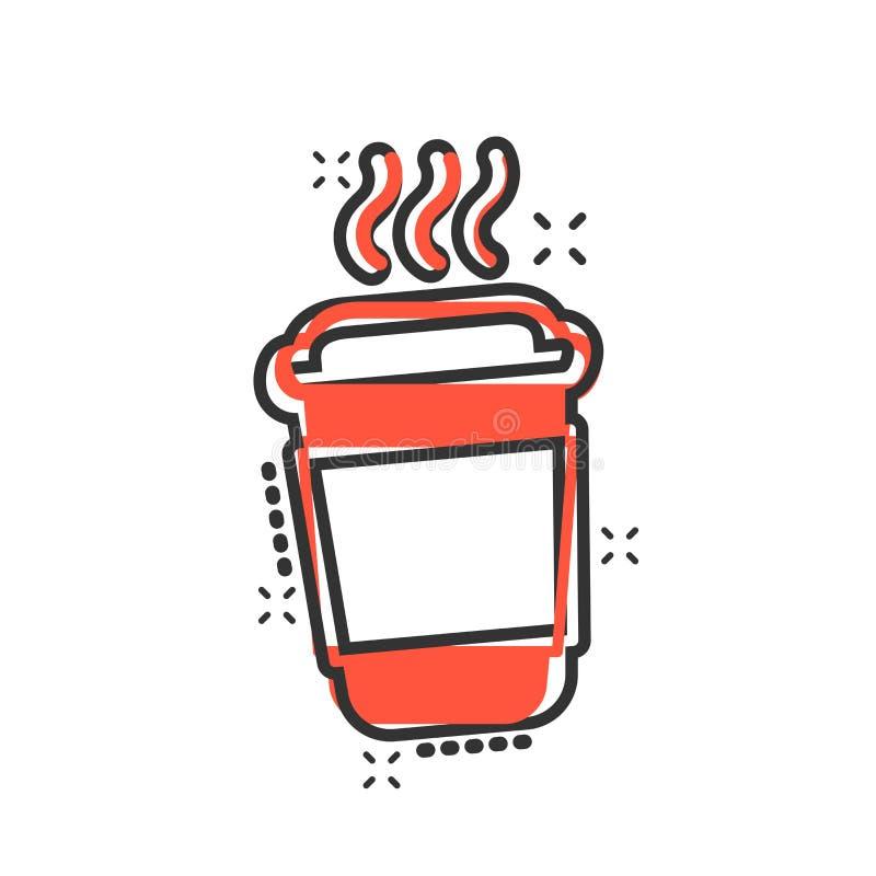 Kawa, ikona filiżanki herbaty w stylu komiksowym Piktogram ilustracyjny z filtrem filmowym Efekt ukośnika koncepcji biznesowej ilustracji
