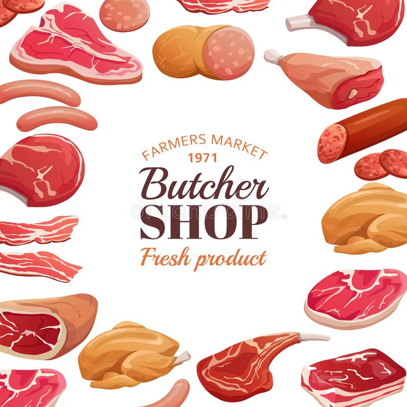 Plakat rzeźniczy Świeże mięso surowe, stek wołowiny i szynka wieprzowa Tło wektora produktów mięsnych ilustracja wektor