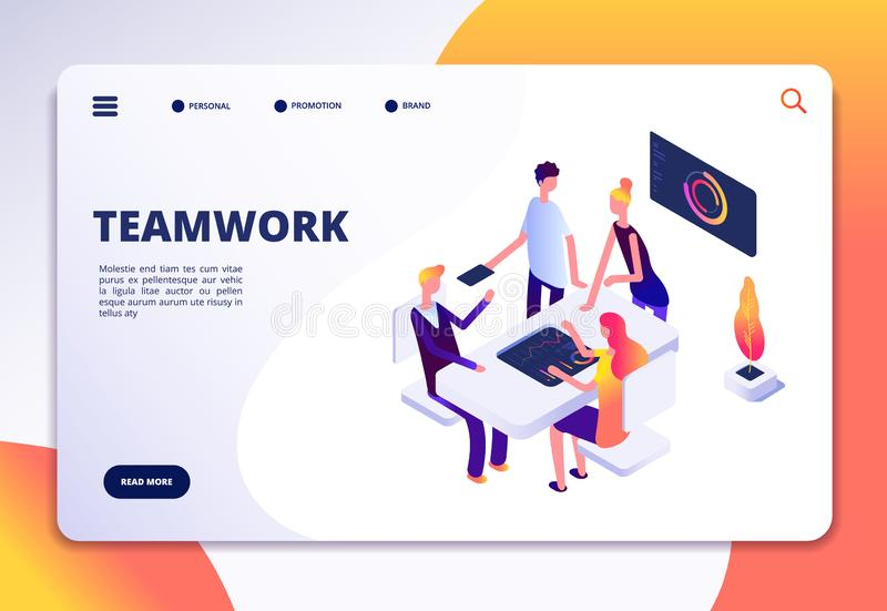 Izometryczna strona docelowa obszaru roboczego Praca zespołowa w biurze Partnerstwo, osoby pracujące wspólnie w ramach procesów b royalty ilustracja