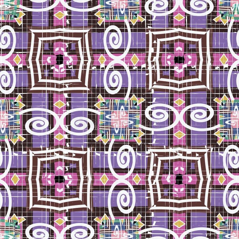 Grunge rayé Tribal style ethnique géométrique vecteur continu. Originaire natif aztèque aztèque coloré vectoriel. Répétiti illustration stock