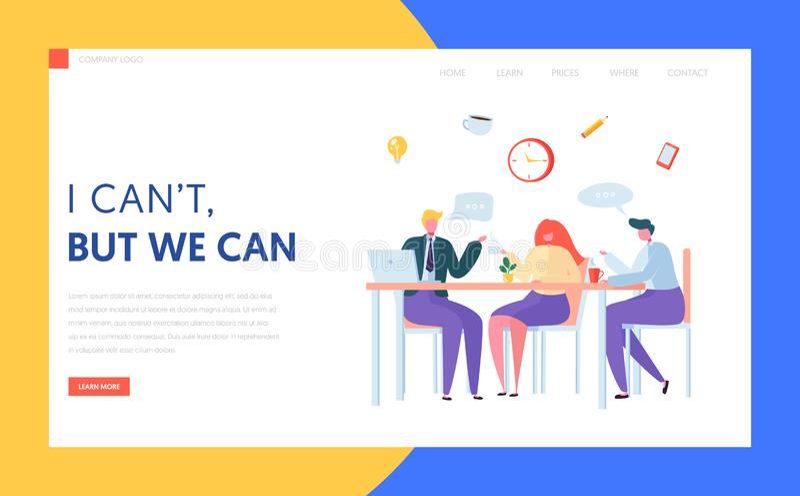 Strona początkowa podziału kawy pakietu Office Zespół znaków biznesowych na spotkaniu lunchu Kreatywna rozmowa pracowników w miej royalty ilustracja