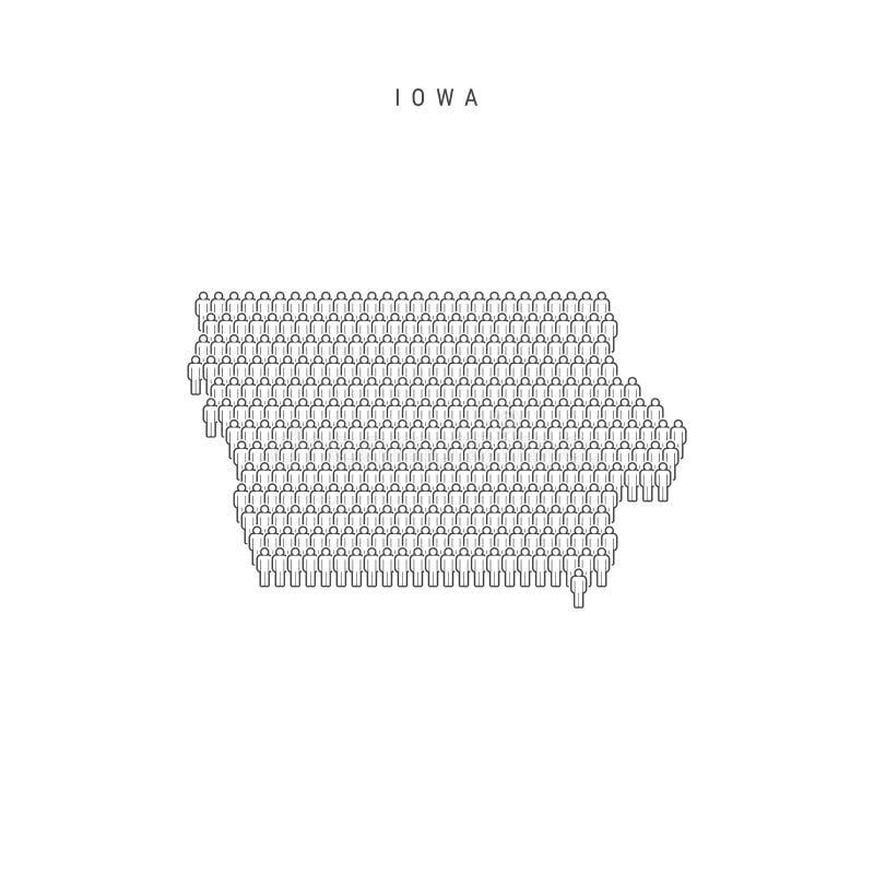 Vector People Map of Iowa, stan USA Stylizowana sylwetka, tłum ludzi Ludność Iowa ilustracji