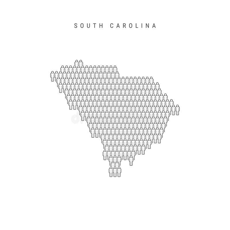 Vector People Map of South Carolina, Stany Zjednoczone Stylizowana sylwetka, tłum ludzi Populacja Karoliny Południowej ilustracja wektor