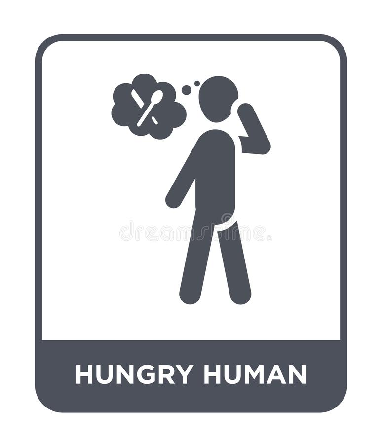 hongerig menselijk pictogram in trendy design stijl hongerig menselijk pictogram geïsoleerd op witte achtergrond hongerige mensel royalty-vrije illustratie