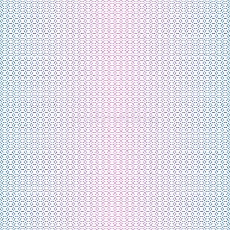 Guillochering Vattenstämpel för Guilloche-pass, vågsedel Diplomatvektorbakgrund royaltyfri illustrationer